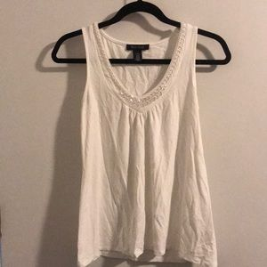 No sleeve top with sparkly neck line, off white